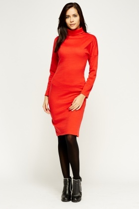 Roll Neck Midi Dress
