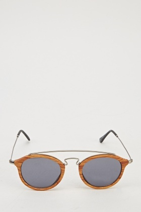 Wood Effect Aviator Sunglasses
