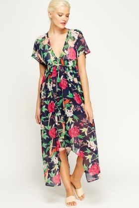 Asymmetric Hem Floral Maxi Dress