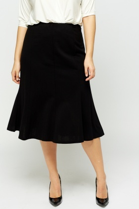 Black Elasticated Midi Swing Skirt
