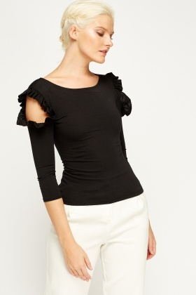 Cut Out Shoulder Black Top