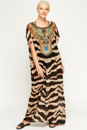 Mix Printed Sheer Maxi Cover Up