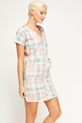 Zipped Neck Checked Dress