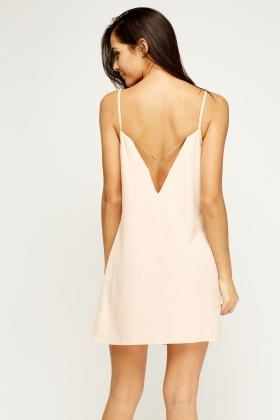 Contrast Trim Cross Back Slip On Dress
