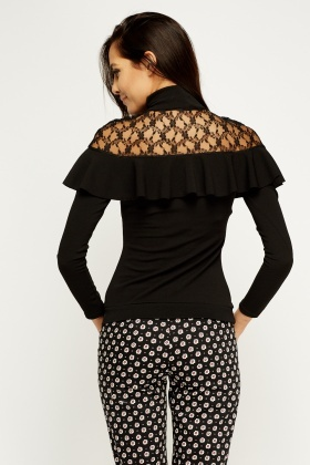 Insert Lace Flare Black Top