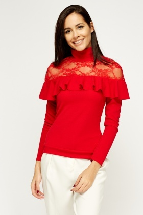 Insert Lace High Neck Frilled Top