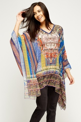 Mixed Print Embroidered Box Top