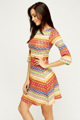 Multi Zig Zag Swing Dress
