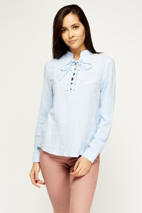 Tie Up Neck Dip Hem Blouse