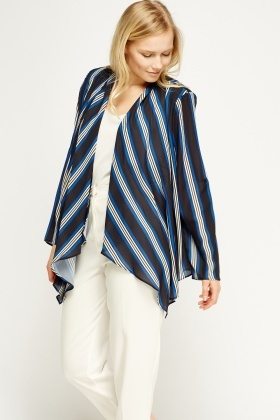 Asymmetric Striped Cardigan