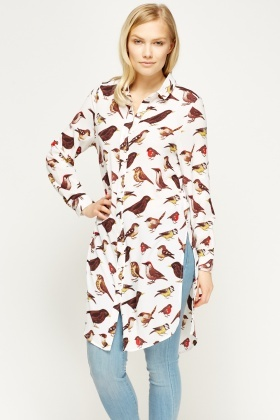 Birds Print Long Shirt