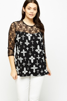 Cross Printed Lace Insert Top