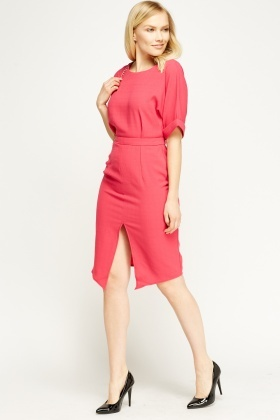 Hot Pink Slit Front Dress