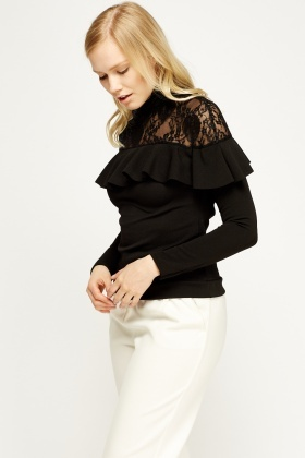 Lace Insert Black Flared Top