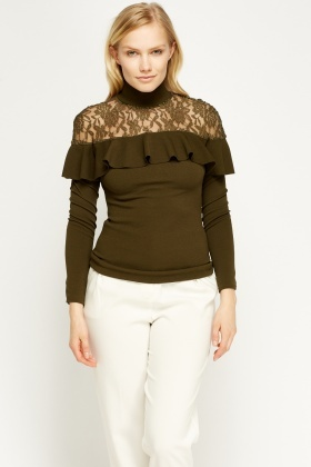 Lace Insert Olive Flared Top