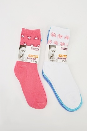 Pack Of 6 Mixed Socks