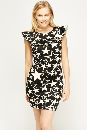 Textured Star Frilled Dress