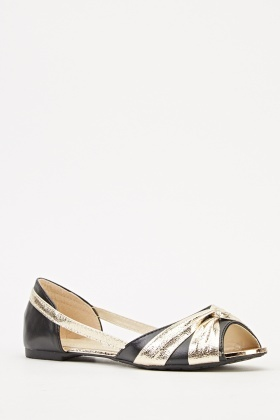 Metallic Contrast Flat Shoes