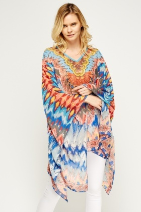 Multi Print Embellished Cover Up