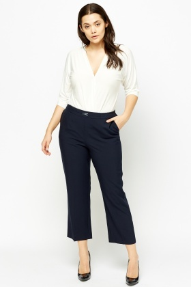 Navy Elasticated Formal Trousers