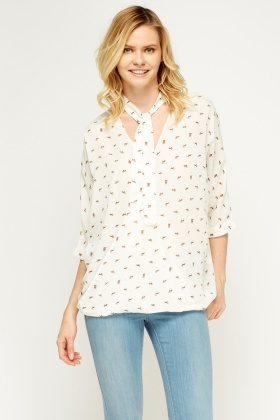 Printed Off White Wrap Blouse