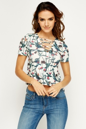 Criss Cross Printed Crop Top