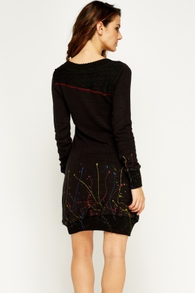Embroidered Stitched Jumper Dress