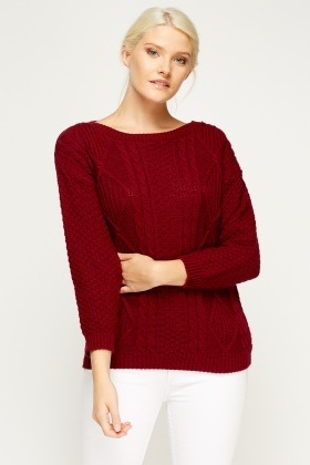 Front Panel Cable Knit Jumper