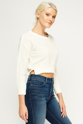 Knitted Cropped Cream Jumper