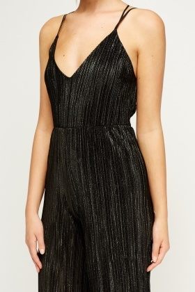 Metallic Pleated Plunge Jumpsuit