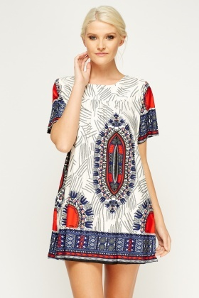 Multi Print Tunic Mini Dress