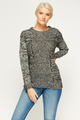 Panel Block Knit Speckled Jumper