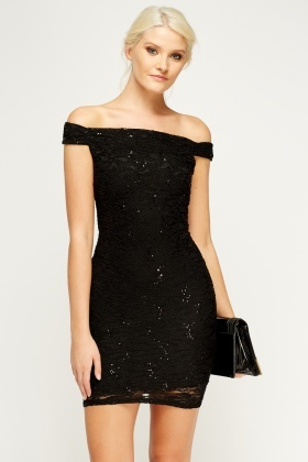 Sequin Black Bodycon Dress