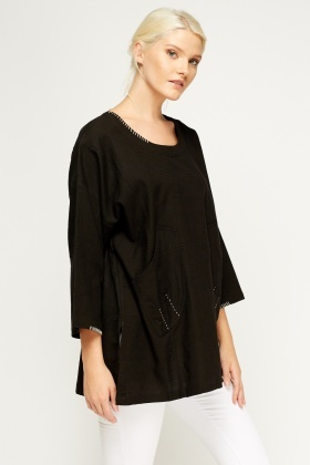 Stitched Trim Tunic Top