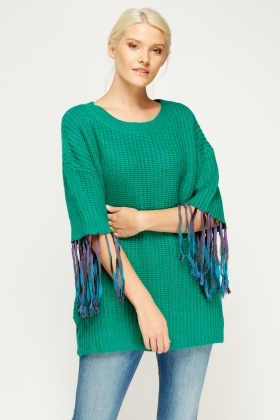 Tassel Sleeve Knit Jumper