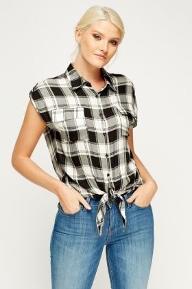 Tie Knot Checked Shirt