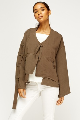 Asymmetric Cropped Jacket - Brown or Rust - Just £5