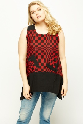 Check Grid Asymmetric Contrast Top