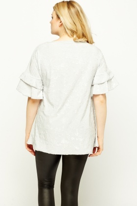 Flare Sleeve Embroidered Top