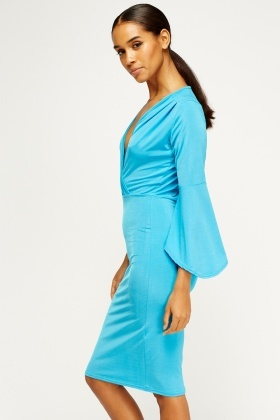 Flared Sleeve Wrap Front Dress