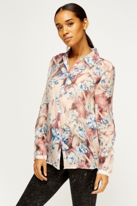 Floral Printed Sheer Blouse