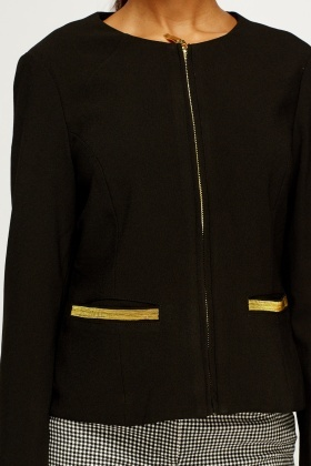 Gold Detailed Black Blazer