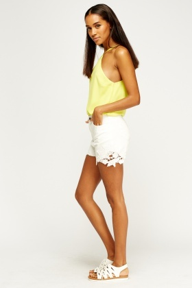 Mesh Hem White Denim High Waist Shorts