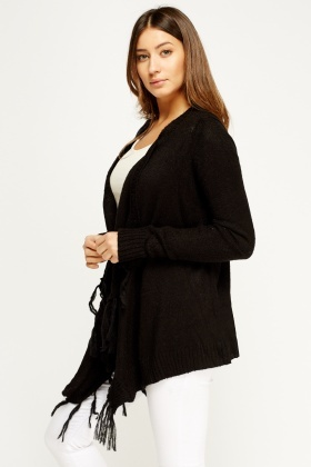 Asymmetric Tasseled Cardigan