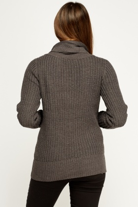 Button Neck Loose Knit Jumper