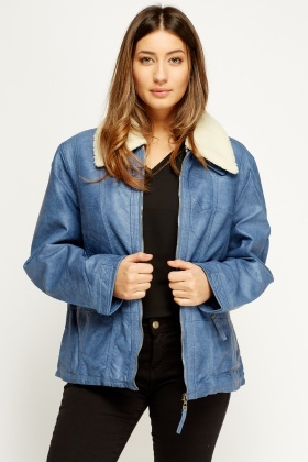 Contrast Collar Faux Leather Jacket