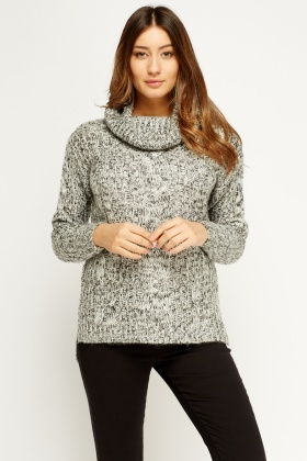 Cowl Neck Speckled Jumper