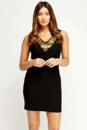 Embellished Neck Contrast Bodycon Dress