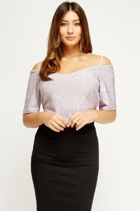 Lilac Embossed Cold Shoulder Cami Top