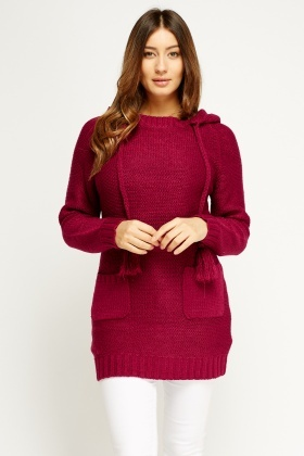 Long Hooded Knit Jumper